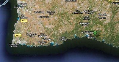 Localización de Cala Mitjana